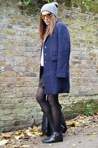 navy textured Zara coat - black leather Zara boots