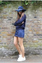 blue denim APC skirt - navy knitted COS jumper - white superstar Adidas sneakers