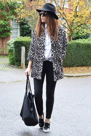 camel leopard print Topshop coat - black faux leather Gap jeans