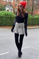 white printed Zara skirt - black suede Topshop boots - red beanie Topshop hat