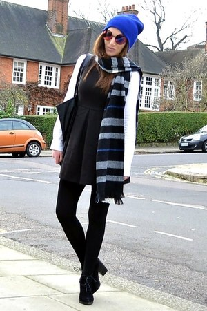 black suede Topshop boots - black mini H&M dress - blue beanie Topshop hat