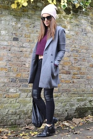 deep purple cropped Topshop jumper - heather gray crombie H&M coat