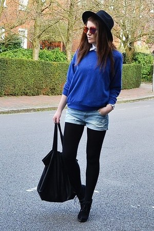 blue cotton Topshop sweatshirt - black fedora H&M hat
