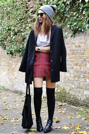 black boyfriend Topshop coat - white cotton Zara shirt