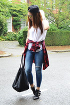 brick red plaid Zara shirt - sky blue skinny Topshop jeans
