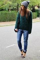 sky blue boyfriend H&M jeans - gold mirrored Topshop sunglasses