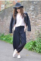 black faux leather Zara jacket - light pink cotton Topshop t-shirt