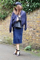 navy striped H&M jacket - gold mirrored Topshop sunglasses