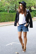 black faux leather Zara jacket - mustard animal print Gap shoes