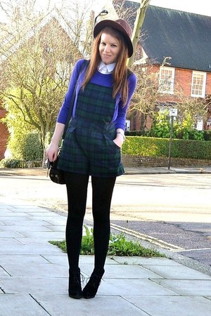 dark green plaid Topshop romper - black suede Topshop boots