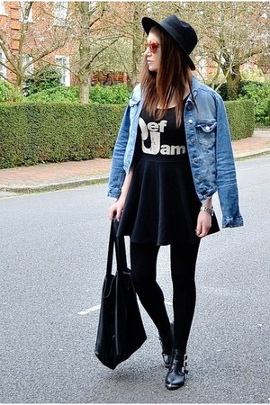 black fedora H&amp;M hat - sky blue denim Zara jacket - black oversized Topshop bag