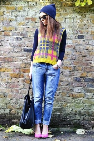 yellow checkered Topshop jumper - sky blue boyfriend H&M jeans
