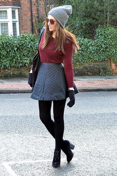 black quilted Topshop skirt - black suede Topshop boots