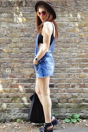 sky blue denim Primark dress - black fedora H&M hat