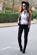 black suede Topshop boots - black skinny Topshop jeans - black fedora H&M hat