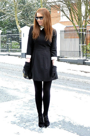 black suede Topshop boots - black mini Primark dress
