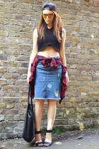 black cotton Zara top - ruby red plaid Zara shirt - sky blue denim Zara skirt