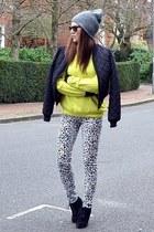 black quilted H&M jacket - black suede Topshop boots