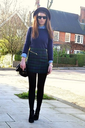 dark green plaid Topshop skirt - dark brown fedora H&M hat
