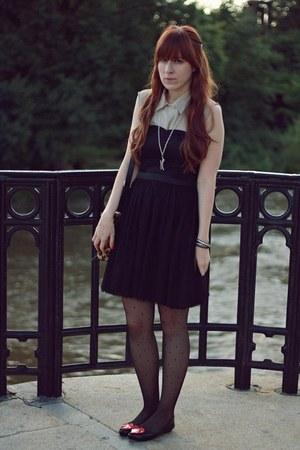 black H&M dress - beige vintage shirt