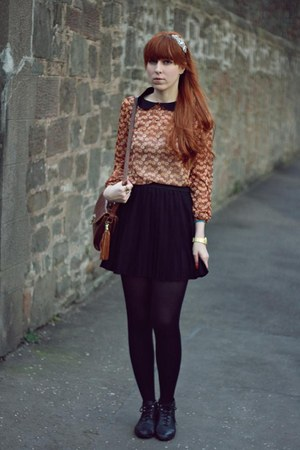 burnt orange Primark blouse - black H&M skirt