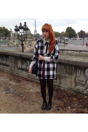 black Rose Wholesale coat - white Primark shirt - crimson H&M skirt
