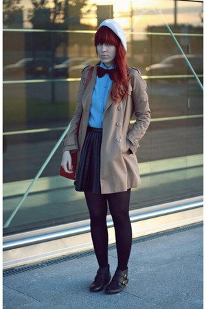 tan H&amp;M coat - black H&amp;M skirt