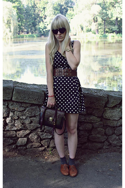 new look dress - brown Primark belt - brown Zara shoes - black vintage bag