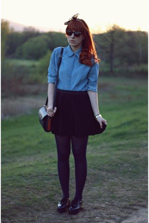 thrifted shirt - black OASAP shoes - black H&M skirt