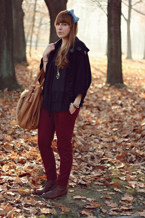 crimson new look pants - dark brown new look boots - bronze reserved bag