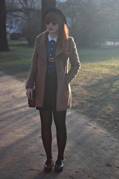 navy Primark blouse - light brown F&F coat - black H&M skirt