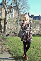 black floral Topshop dress - brown new look shoes - black vintage bag
