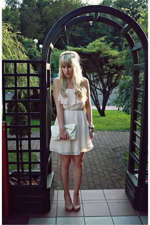 pink H&M dress - beige Primark shoes - white Primark bag