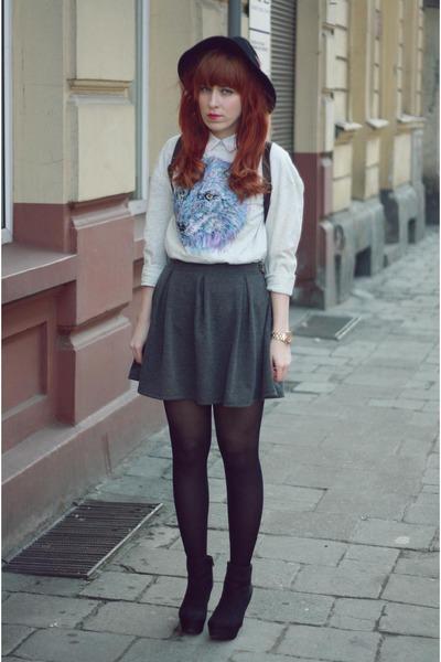 H&M skirt - Fashon Union sweatshirt - new look wedges