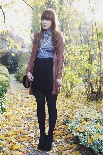 black H&M skirt - camel new look cardigan - black new look wedges