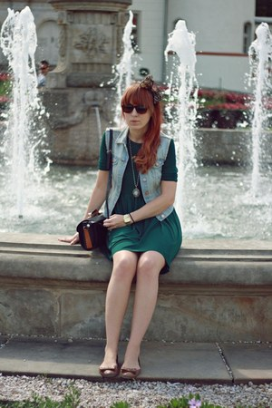 dark green Zara dress - light blue H&amp;M vest