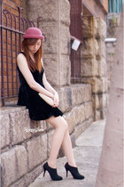 black velvet random from Hong Kong dress - coral random from Hong Kong hat