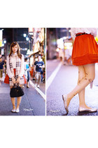 beige Burberry scarf - red dress - nude DEARDEAR tights - crimson Prada bag