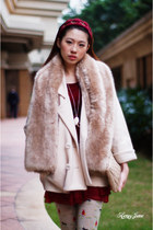 neutral snidel coat - camel Zara scarf - ruby red hairband accessories