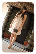 beige Oysho dress - brown Vintage from Kyliewatch accessories - brown Stradivari