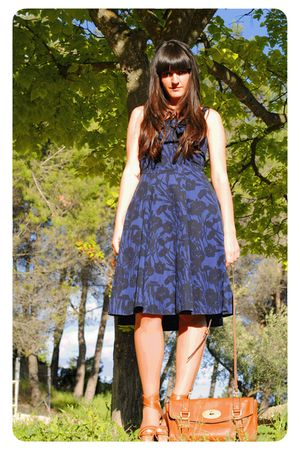 blue Marc by Marc Jacobs dress - brown Mulberry accessories - brown Stradivarius
