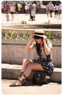 Blue-zara-t-shirt-blue-blanco-shorts-red-blanco-necklace-beige-oysho-hat-