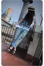 White-zara-shirt-blue-h-m-jeans-brown-vintage-kiliwatch-accessories-beige-