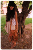 white crochet Zara vest - brown leather sandals dune shoes