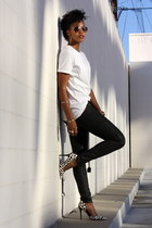 white Urban Outfitters t-shirt - black H&M jeans - white Guess pumps