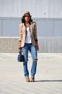 Jeans-tan-fedora-david-young-hat-camel-kasper-blazer-heels