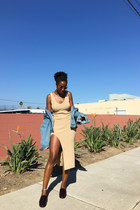 camel Nasty Gal dress - white Old Navy sunglasses - crimson madewell loafers