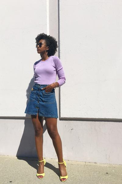 light purple banana republic top - blue Zara skirt