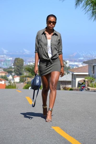 navy Esprit bag - olive green linen list blouse - tan Aldo heels
