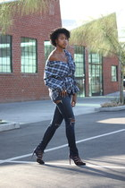 black patent leather unknown brand belt - navy distressed Joes Jeans jeans